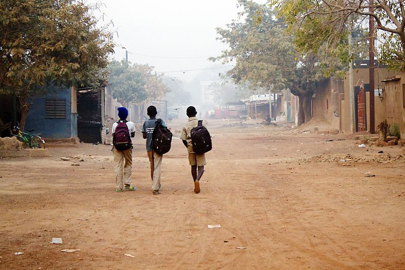 burkina faso boys walking